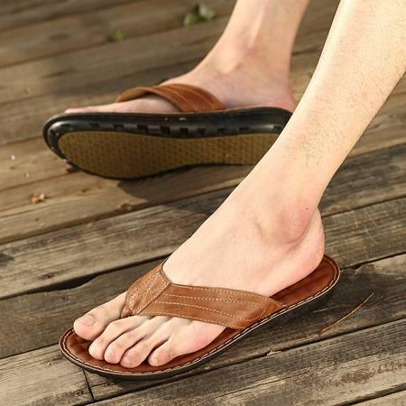 夏季舒适柔软格子人字拖凉拖鞋厚底坡跟平跟男鞋沙滩夹脚