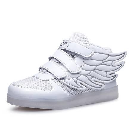 儿童运动鞋春季男童夜光鞋LED带灯鞋女童七彩发光鞋USB充电翅膀鞋