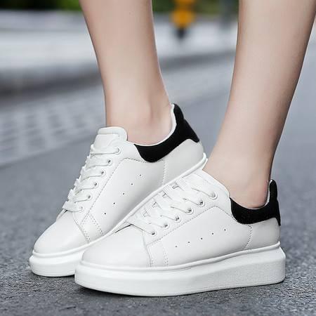新款韩版夏季厚底松糕板鞋真皮系带小白鞋女