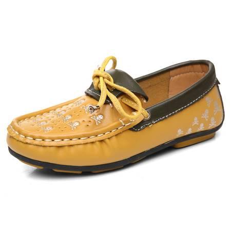 2016春秋爆款骷髅头 韩版女童豆豆鞋儿童牛筋底鞋子软皮面单鞋