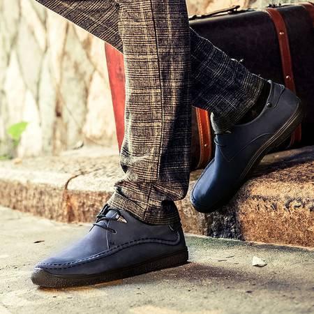 流行男鞋套脚男士真皮头层皮休闲鞋男透气软底牛皮鞋子春季