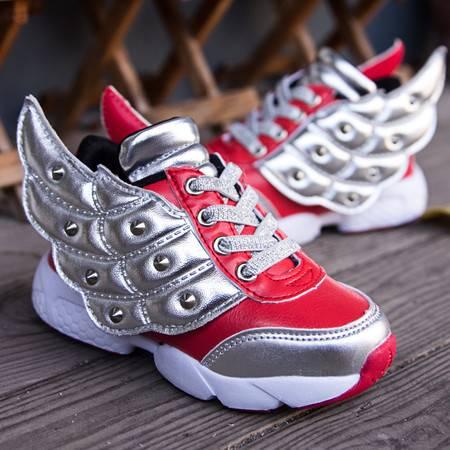 潮流翅膀鞋子儿童 男童女童撞色高帮韩版休闲鞋运动鞋