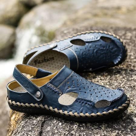 包头手工缝线真皮凉鞋夏季两用个性户外凉拖鞋青年男士韩版潮流鞋