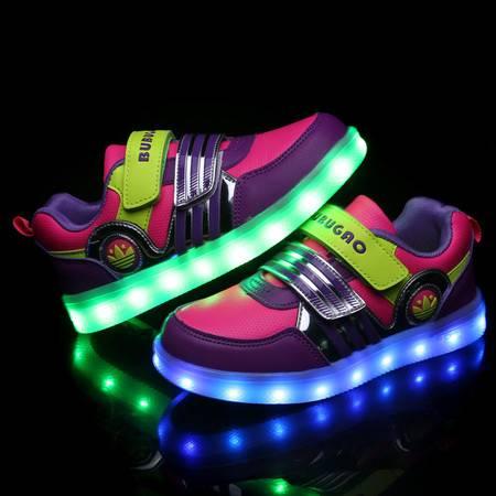 儿童充电USB发光鞋男童LED带亮灯鞋女童夜光灯荧光闪光灯运动童鞋