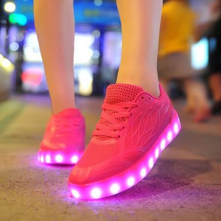 全新爆款糖果女LED发光鞋夏季新款网面运动透气发光鞋系带灯光鞋休闲鞋