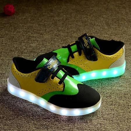 儿童USB亮灯鞋男童充电发光鞋女童布洛克带灯鞋透气板鞋LED闪光鞋