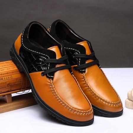 新款流行男鞋 春季男士真皮系带商务休闲皮鞋低帮单鞋子男