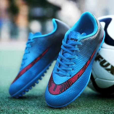新款碎钉足球鞋平底男女鞋青少年儿童训练鞋