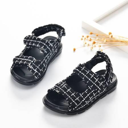 新款夏季儿童凉鞋女童韩版时尚男童方格子沙滩潮鞋同款