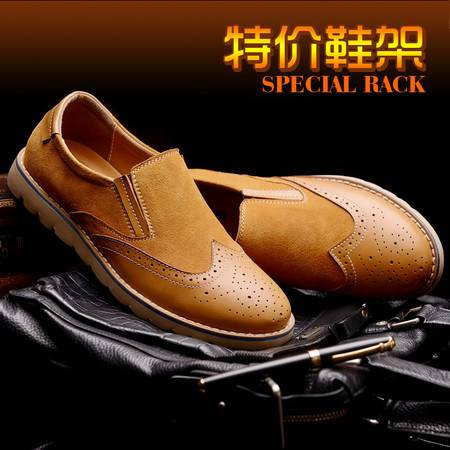 春季新款英伦复古真皮反绒皮休闲鞋 透气低帮鞋子男鞋厂家批发热