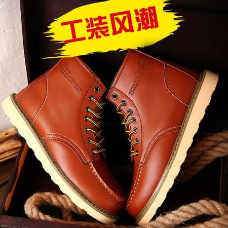 秋冬新款男士靴子潮流中筒男皮靴韩版马丁鞋时尚工装靴子潮人军靴