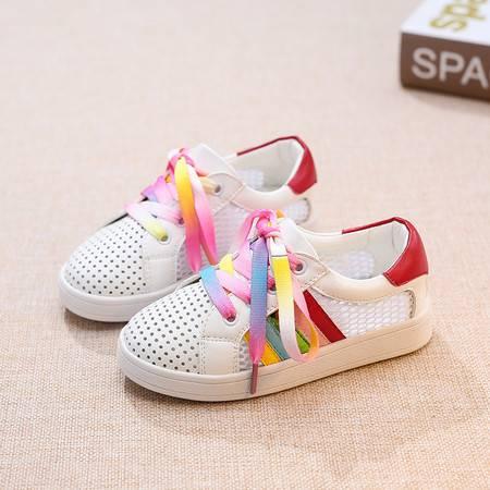 夏季透气网格鞋彩虹鞋镂空休闲运动鞋女童板鞋学生鞋