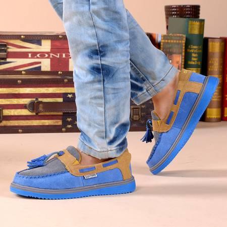 儿童皮鞋男童豆豆鞋反绒皮真皮学生休闲鞋一脚蹬懒人鞋中大童皮鞋