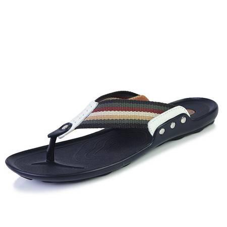 夏季人字拖韩版真皮拖鞋男休闲男士沙滩鞋个性夹脚防滑潮流凉拖鞋