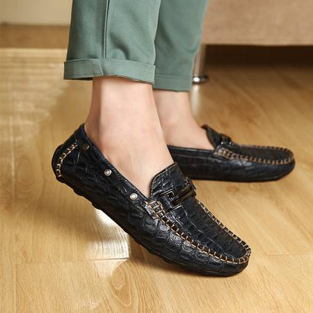 夏季真皮豆豆鞋鳄鱼皮男士休闲鞋韩版潮鞋英伦帆船鞋懒人驾车鞋子