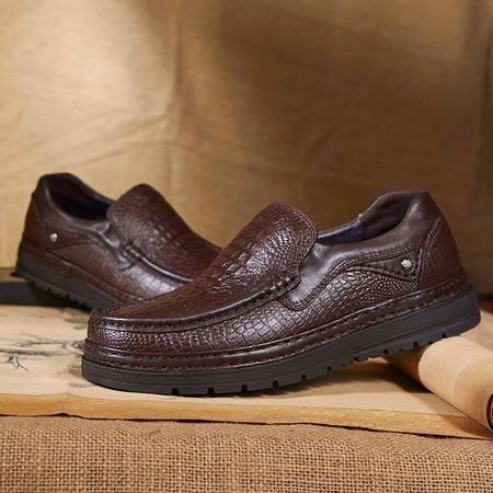 外贸男鞋高帮加毛棉鞋日常休闲商务皮鞋加绒男士牛皮防滑爸爸鞋子