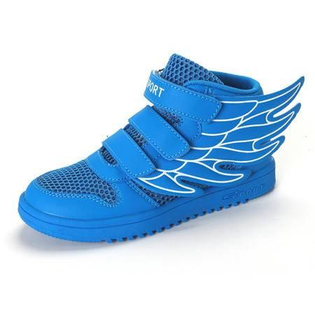 2016新品童鞋网鞋带翅膀运动鞋魔术贴板鞋镂空透气网层布面男女童