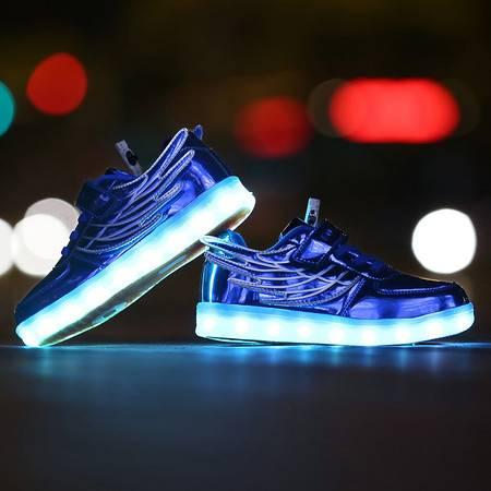 春夏季新款儿童USB充电亮灯鞋LED发光童鞋七彩夜光男童鞋女童鞋潮