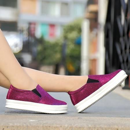 春夏新款帆布鞋松糕低乐福鞋休闲布面平底鞋韩版女士单鞋透气