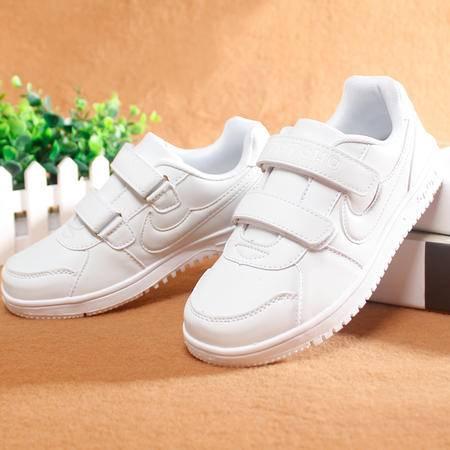 2016秋新款小白鞋运动鞋儿童板鞋韩版带勾潮男女童鞋