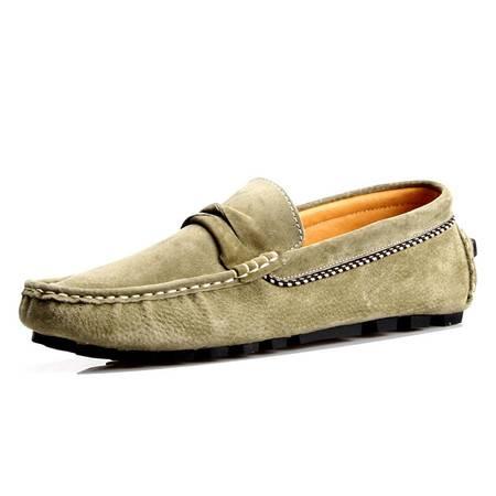 夏季新款豆豆鞋男磨砂真皮休闲鞋情侣透气一脚蹬驾车鞋潮鞋懒人鞋