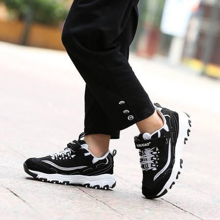 男童鞋牛皮黑白熊猫鞋跑步鞋儿童减震篮球鞋女童真皮厚底内增高鞋