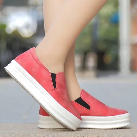 新款乐福鞋单鞋真皮平底懒人鞋厚底松糕鞋大码女鞋秋鞋渔夫鞋