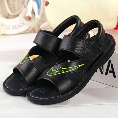 2016夏季新款儿童鞋子男童中大童凉鞋黑白色