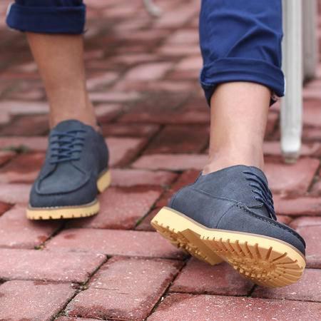 春季潮鞋男士休闲鞋做旧简约小皮鞋复古板鞋英伦风潮流黑色男鞋子
