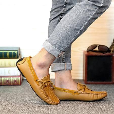 夏秋季韩版新款潮流真皮豆豆鞋男士休闲鞋一脚蹬套脚驾车懒人鞋
