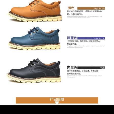 工装鞋春季新款真皮耐磨系带男鞋低帮大头鞋