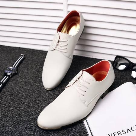 尖头复古英伦男士商务休闲皮鞋韩版漆皮男系带皮鞋内增高男鞋