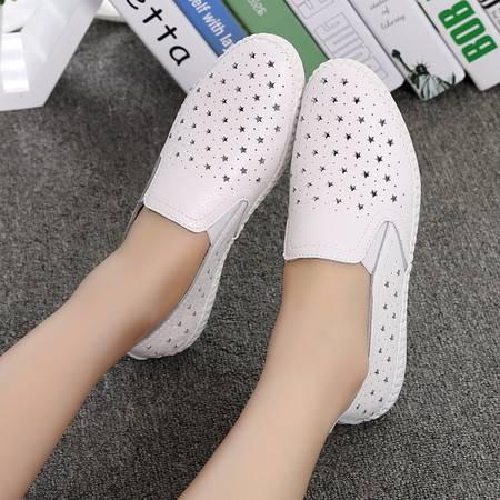 洞洞鞋女皮鞋透气镂空平底鞋乐福鞋懒人鞋