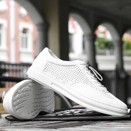 2016夏季新款男士白色皮鞋休闲鞋透气男鞋屡空洞洞鞋韩版皮鞋潮鞋