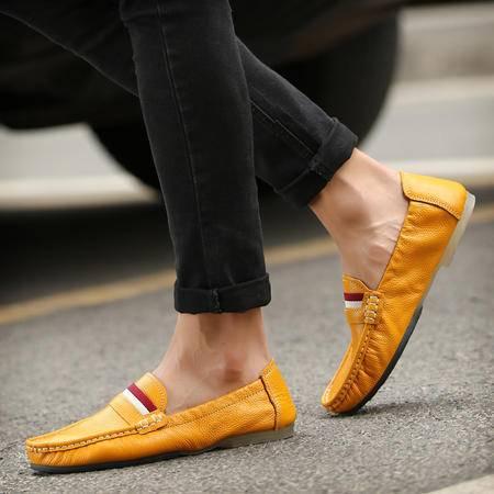 夏季男鞋豆豆鞋真皮休闲鞋白色蛋卷鞋一脚蹬懒人鞋青年软底开车鞋
