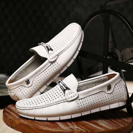夏季真皮洞洞鞋头层牛皮商务休闲皮凉鞋软面