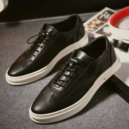 新款韩版青春潮流小白鞋休闲板鞋真皮透气男鞋平跟板鞋系带男皮鞋