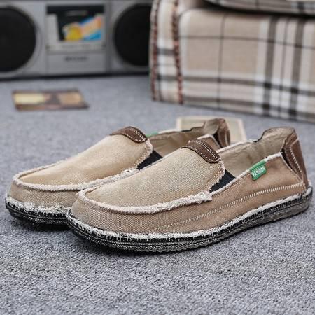 韩版不系带懒人休闲帆布鞋男鞋学生牛仔板鞋
