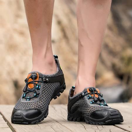 夏季徒步鞋休闲鞋男鞋透气网布鞋户外登山运动鞋男士潮鞋耐磨防滑