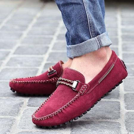 夏季经典时尚磨砂套脚豆豆鞋舒适透气休闲驾车鞋英伦运动男鞋