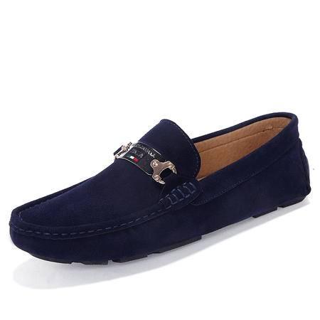 夏季男士真皮潮流英伦豆豆鞋日常休闲青年套脚驾车鞋舒适潮男鞋子