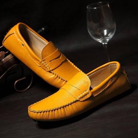 新款英伦豆豆鞋男潮流头层真皮男士日常韩版休闲皮鞋驾车透气男鞋
