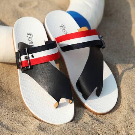 夏季真皮拖鞋男英伦夹脚简约人字拖男沙滩鞋