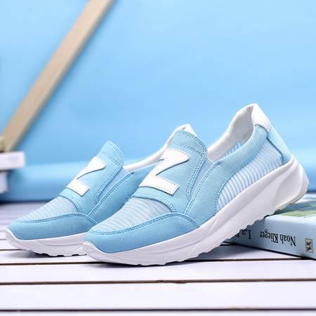 夏季糖果色一脚蹬厚底女士帆布鞋懒人鞋子休闲布鞋