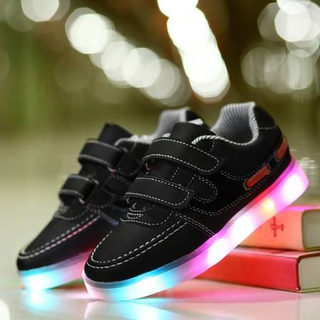 灯鞋爆款黑白色发光鞋儿童韩版鞋 潮爆百搭舒适男童led女童鞋代发