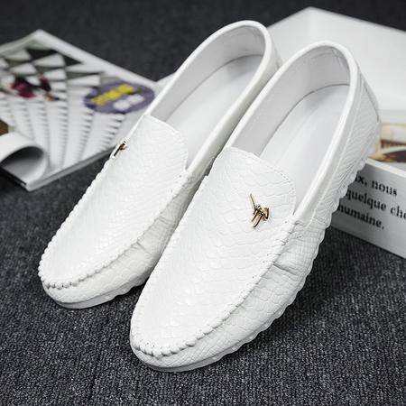夏季新款豆豆鞋男英伦潮流低帮懒人鞋百搭小皮鞋驾车鞋男鞋小白鞋