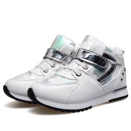 秋冬季黑色女童鞋儿童休闲鞋韩版白色运动鞋真皮跑步鞋