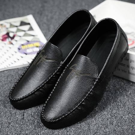 新款夏季男版鞋豆豆休闲鞋牛仔九分裤七分短裤搭配的皮面男鞋浅色