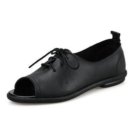 鱼嘴凉鞋女春季平底韩版单鞋系带学生舒适平底百搭