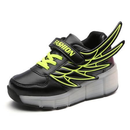 夏季儿童发灯鞋翅膀鞋男童隐形带轮子暴走鞋女童运动鞋跑步发光鞋